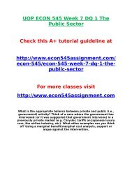 UOP ECON 545 Week 7 DQ 1 The Public Sector