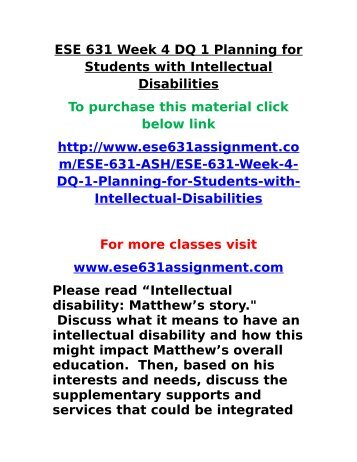 ese 631 week 4 dq 2 Title: ese 631 ese/631 ese631 week 4 dq 2/discussion 2 supporting students with physical impairments, author: ao, name: ese 631 ese/631 ese631 week 4 dq 2/discussion 2 supporting students with physical impairments, length: 1 pages.