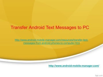 Transfer Android Text Messages to Computer