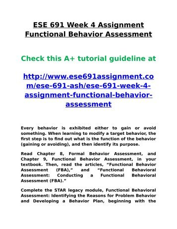 Ash Ese 691 Week 4 Assignment Functional Behavior Assessment
