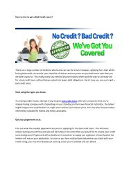 How to Use to get a Bad Credit Loans