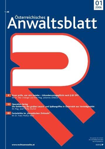 Anwaltsblatt 2006/01 - Österreichischer Rechtsanwaltskammertag