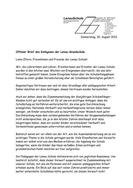 Lenauschule Offener Brief Des Kollegiums Lenau Grundschule