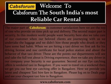 Car Hire in Bangalore|Cabs Forum