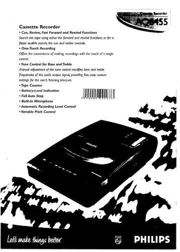 Philips Radio-cassette/magnétophone - Mode d'emploi - ENG