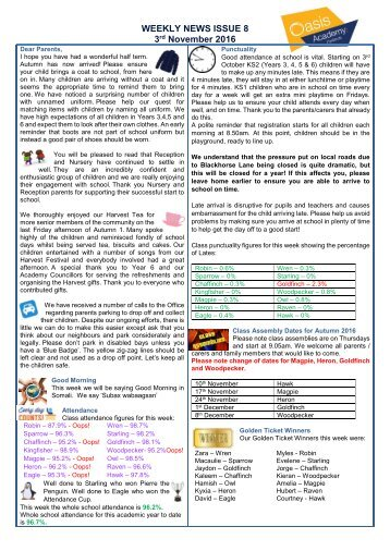 WEEKLY NEWS ISSUE 8 3 November 2016