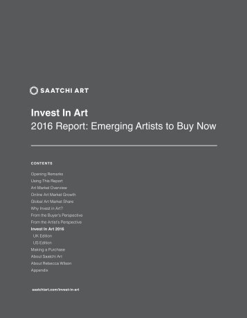 Invest In Art 2016 Report Emerging Artists to Buy Now