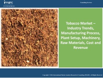 Tobacco Market Trends and Forecast Report for 2016-2021