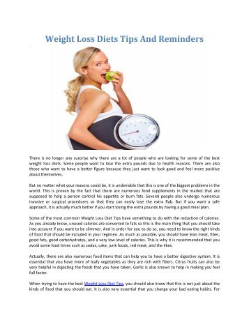 Weight Loss Diets Tips And Reminders