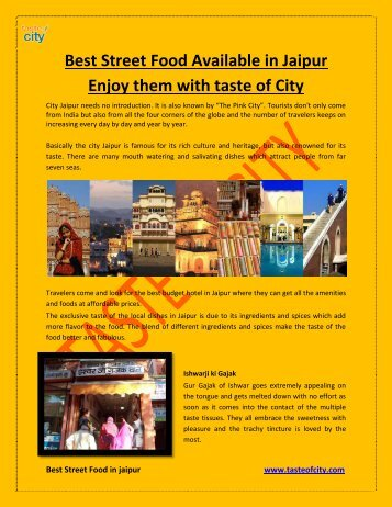 Best Street Food Available In Jaipur Enjoy them with-TOC