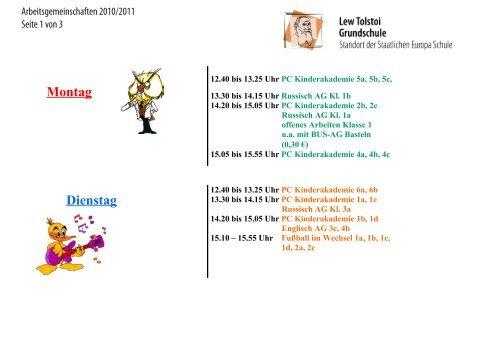 Montag Dienstag Dienstag Der Lew Tolstoi Grundschule