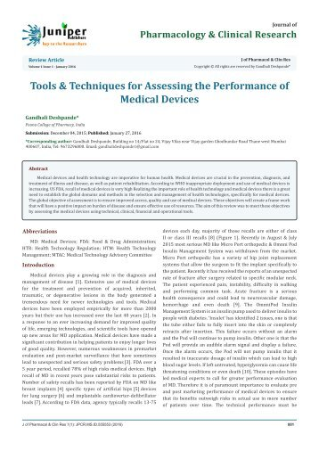 Tools & Techniques for Assessing the Performance of Medical Devices