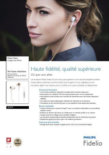Philips Fidelio Écouteurs intra-auriculaires - Fiche Produit - FRA
