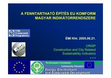 a fenntartható építés eu komform magyar indikátorrendszere