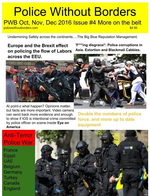"""PWB Police Without Borders 4th Quarter 2016 """" More on the Belt"""""""