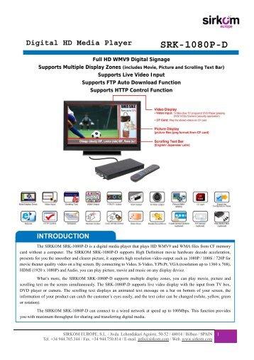 SRK-1080P-D Digital HD Media Player - Sirkom