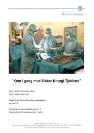 "Kom i gang med Sikker Kirurgi Tjekliste"" - Dansk Selskab for ..."