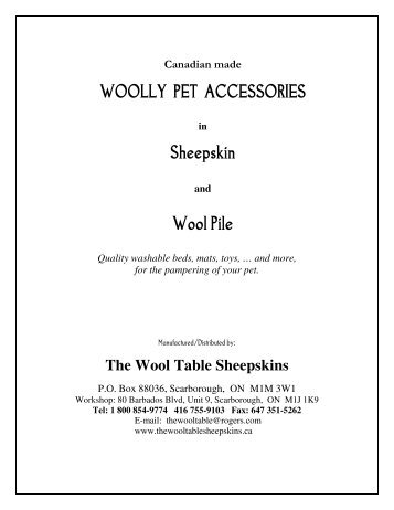 woolly pet accessories - The Wool Table Sheepskins