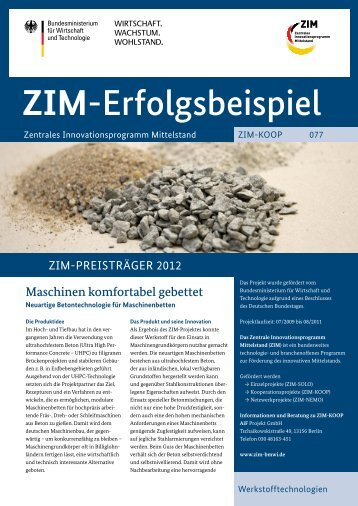 Maschinen komfortabel gebettet - Neuartige Betontechnologie ... - ZIM
