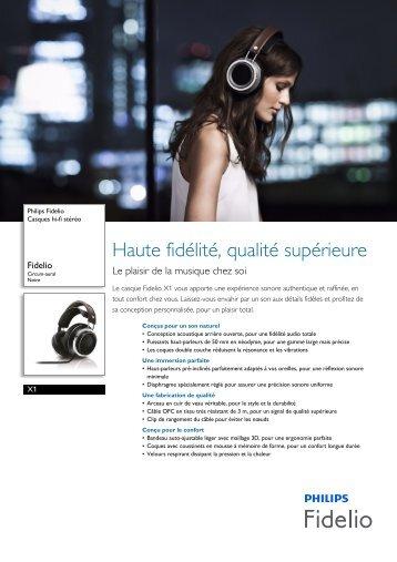Philips Fidelio Casques hi-fi stéréo - Fiche Produit - FRA