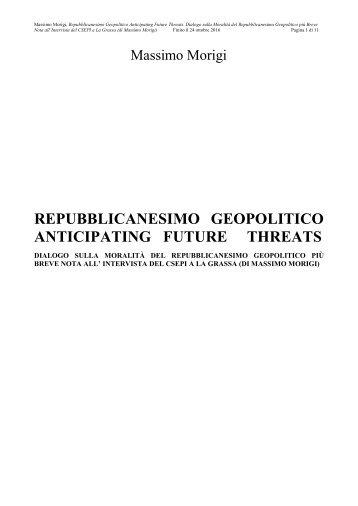 Repubblicanesimo, Repubblicanismo, Republicanismo, Républicanisme, Republicanism, Republikanismus, Karl Marx, Massimo Morigi, Das Kapital, Il Capitale, Capital, Teoria della Distruzione del Valore