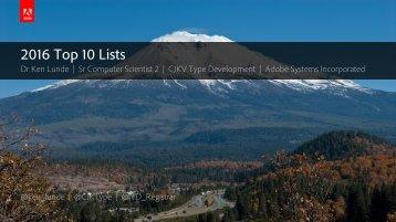2016 Top 10 Lists