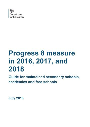 Progress 8 measure in 2016 2017 and 2018