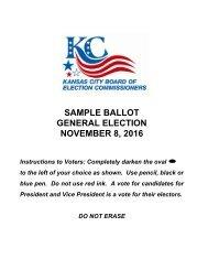 SAMPLE BALLOT GENERAL ELECTION NOVEMBER 8 2016