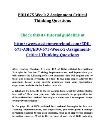 Edu 673 Week 4 Differentiated Instruction For Student Readiness