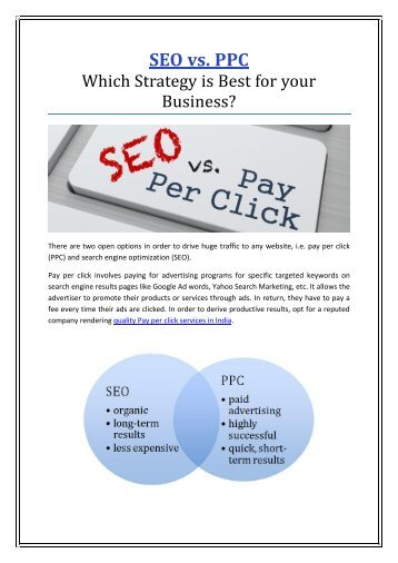 SEO vs. PPC - Which Strategy is best For Your Business