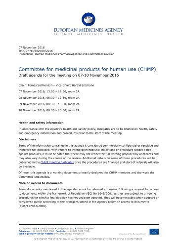 Committee for medicinal products for human use (CHMP)