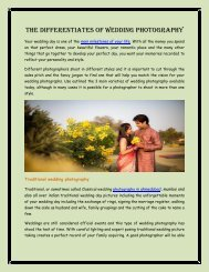 The Differentiates of Wedding Photography