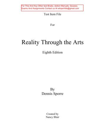 Test Bank for Reality Through the Arts 8th Edition by Sporre