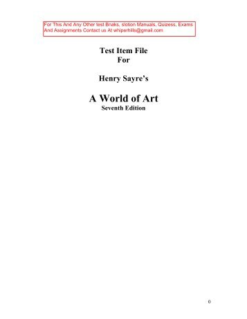 Test Bank for World of Art 7th Edition by Sayre