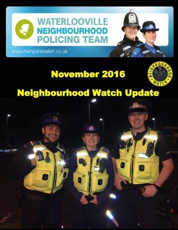 November 2016 Neighbourhood Watch Update