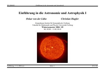 Einführung in die Astronomie und Astrophysik I - Kiepenheuer ...