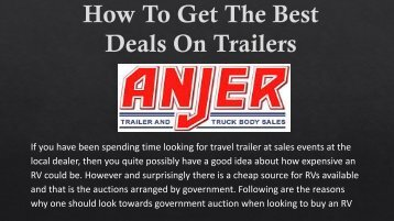 How To Get The Best Deals on Trailers