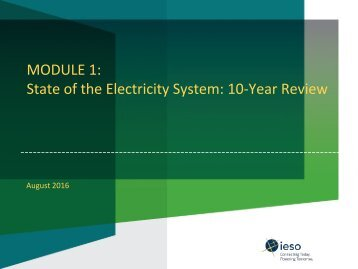 MODULE 1 State of the Electricity System 10-Year Review