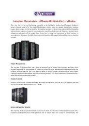 Important Characteristics of Managed Dedicated Servers Hosting