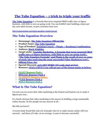 The Tube Equation review - (FREE) Jaw-drop bonuses