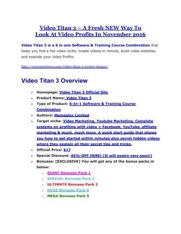 Video Titan 3 review and (FREE) $12,700 bonus-- Video Titan 3 Discount