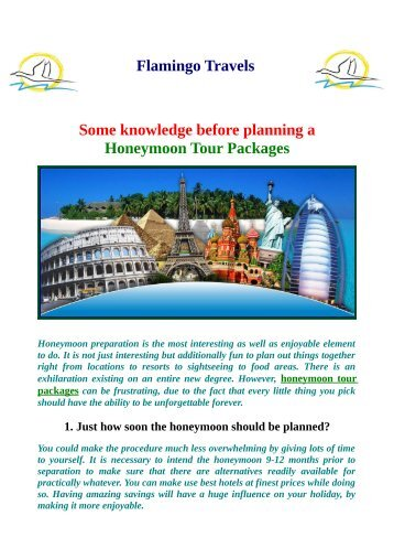 Some knowledge before planning a Honeymoon Tour Packages