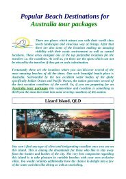 Popular Beach Destinations for Australia tour packages