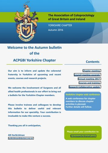 Welcome to the Autumn bulletin of the ACPGBI Yorkshire Chapter