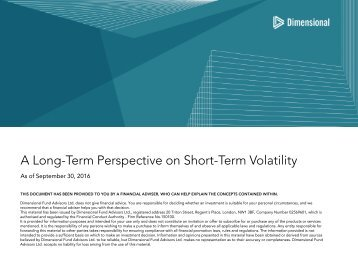 A Long-Term Perspective on Short-Term Volatility