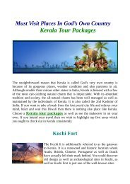 Get affordable Kerala Tour Packages