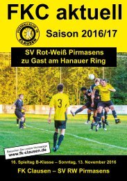 FKC Aktuell - 16. Spieltag - Saison 2016/2017