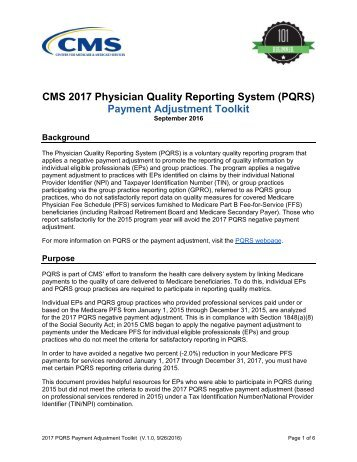 CMS 2017 Physician Quality Reporting System (PQRS) Payment Adjustment Toolkit