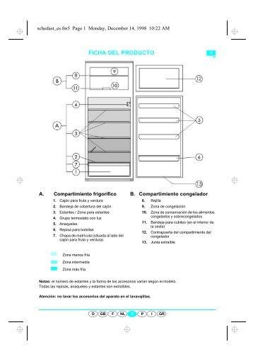 KitchenAid DPA 351/G/1 - Fridge/freezer combination - DPA 351/G/1 - Fridge/freezer combination ES (853944601010) Scheda programmi