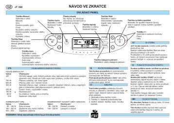 KitchenAid JT 358 BL - Microwave - JT 358 BL - Microwave CS (858735815490) Scheda programmi